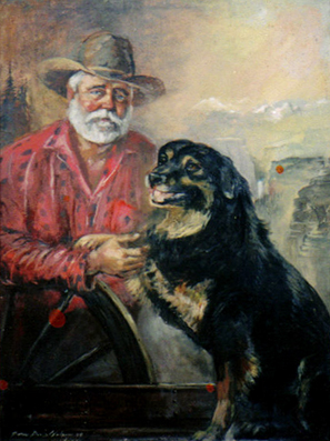 """Pardners"". Oil Portrait Color Photo 297px*397px"