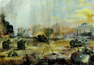 The Battle Of The Cau Dai Temple, 1968. Oil Painting Color Photo 320px*222px