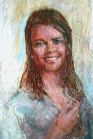 Portrait of Young Girl. Oil Portrait Color Photo 297px*442x